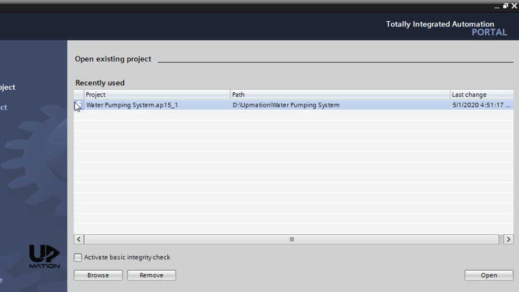 How to Open a Project in TIA Portal V15