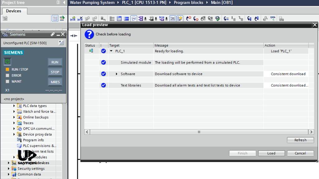Loading the PLC Program in TIA Portal