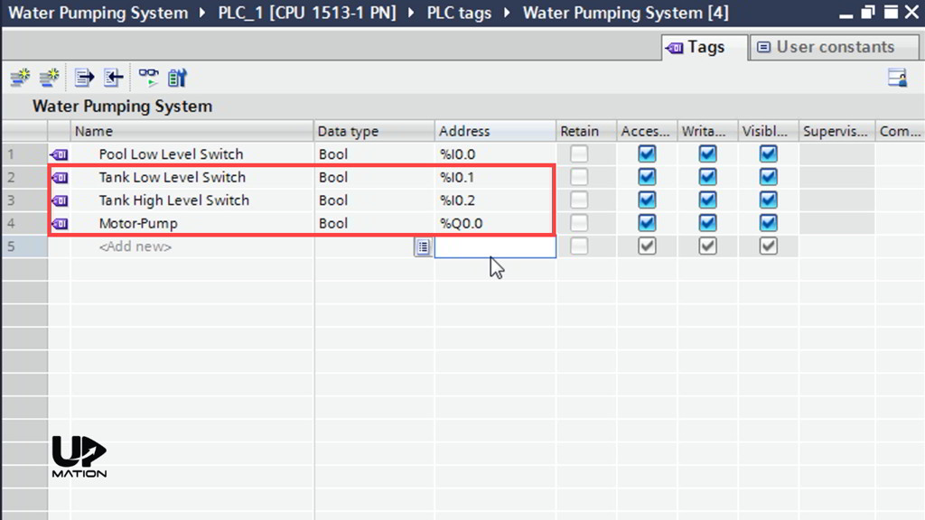 PLC Tag Table in TIA Portal