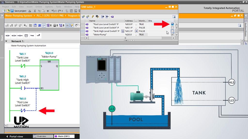Simulate the PLC Program Using a SIM Table