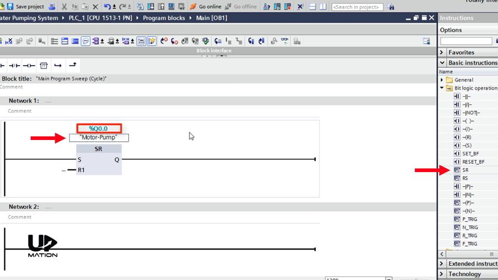 Using an SR Flip Flop in the Ladder Logic PLC Programming